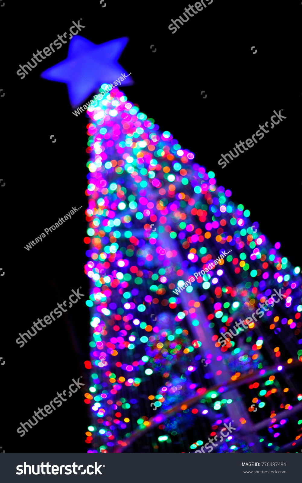 christmas tree bokeh a high resolution beautiful stock photo