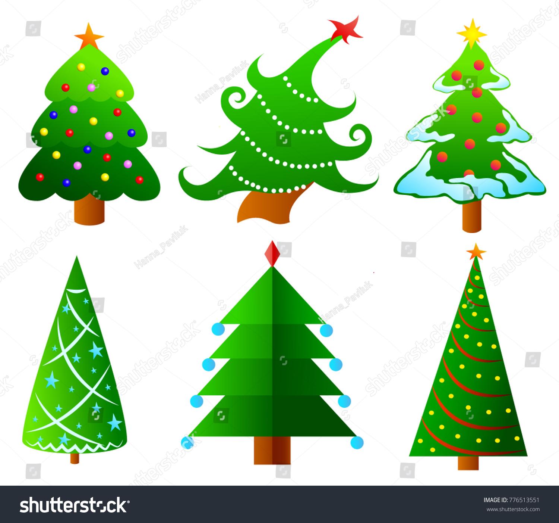 Collection Christmas Trees Modern Design Printing Stock Vector ...