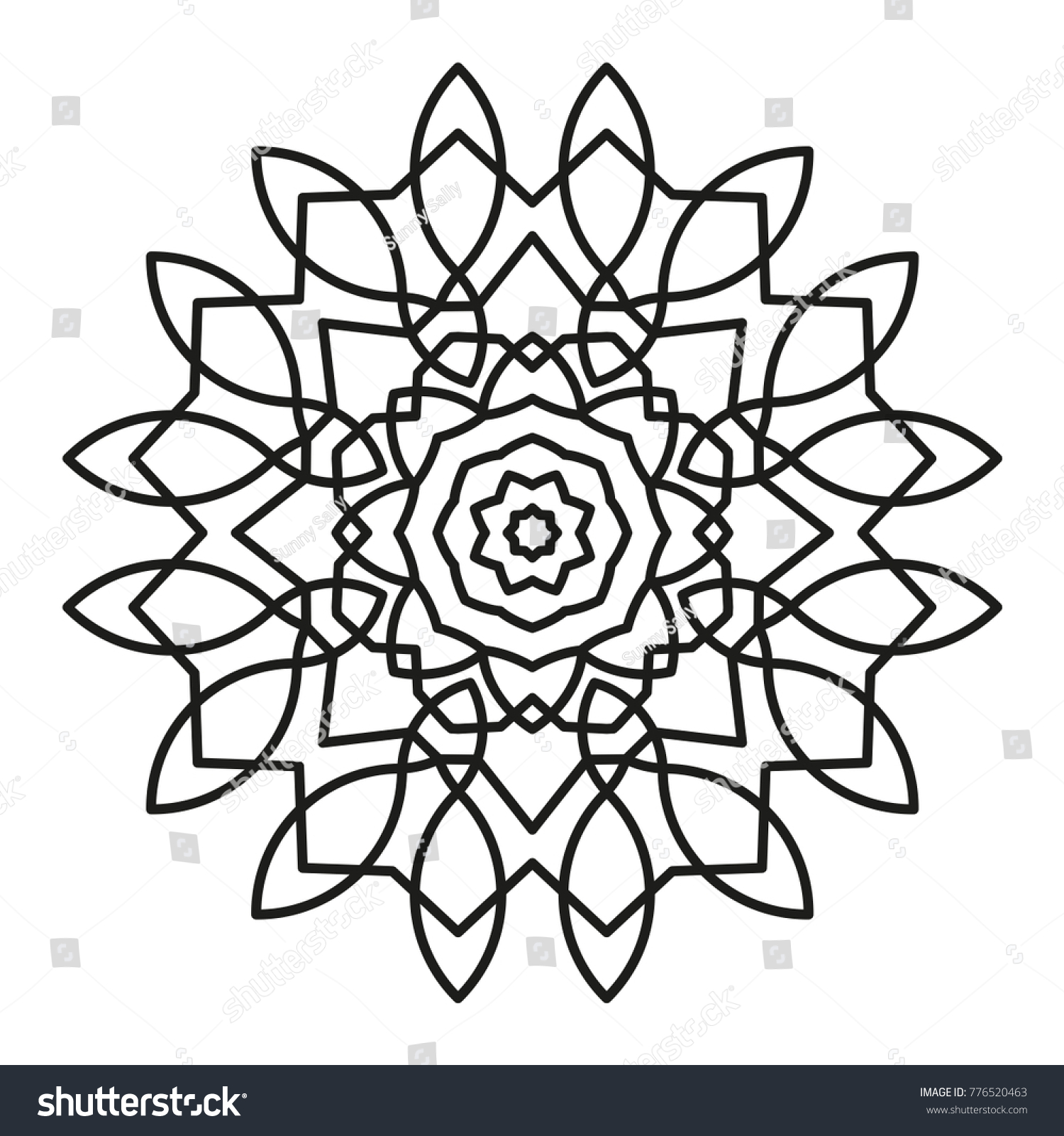 Simple Mandala Shape For Coloring Vector Floral Flower Oriental Book Page Outline