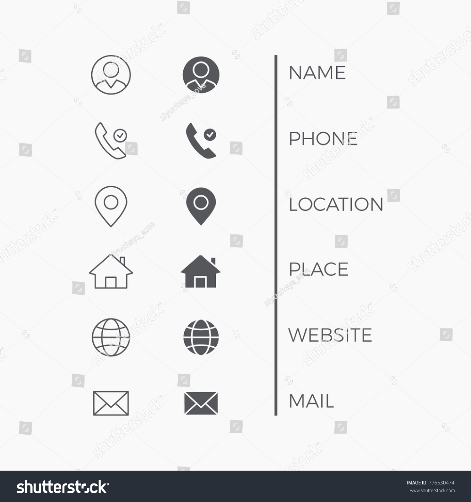 Icons Business Card Vector Thin Line Stock Photo (Photo, Vector ...