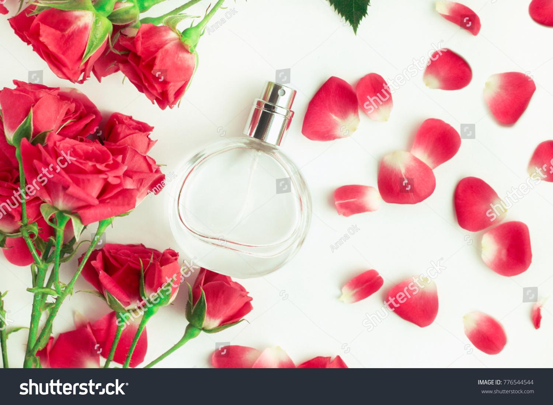 Rose Perfume Bottle Fresh Pink Flower Stock Photo Edit Now