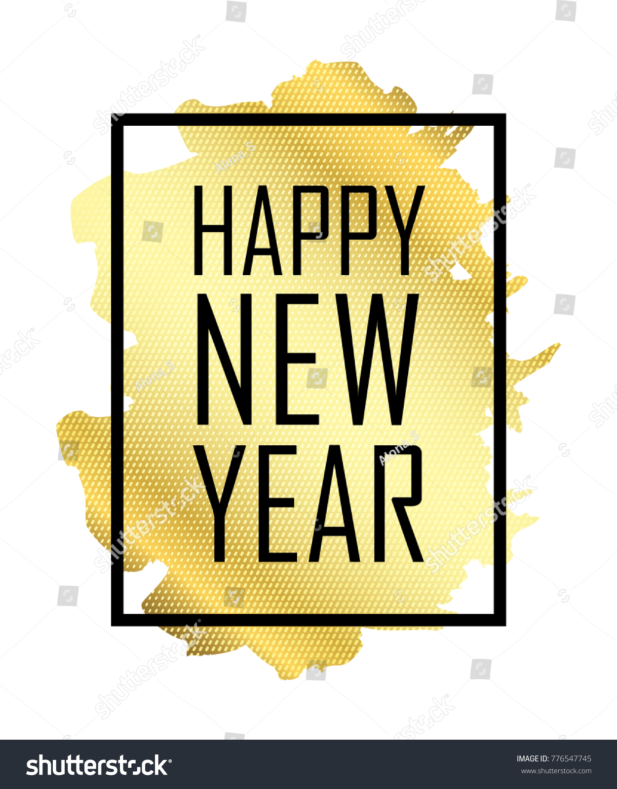happy new year text gold happy new year or christmas isolated background black border