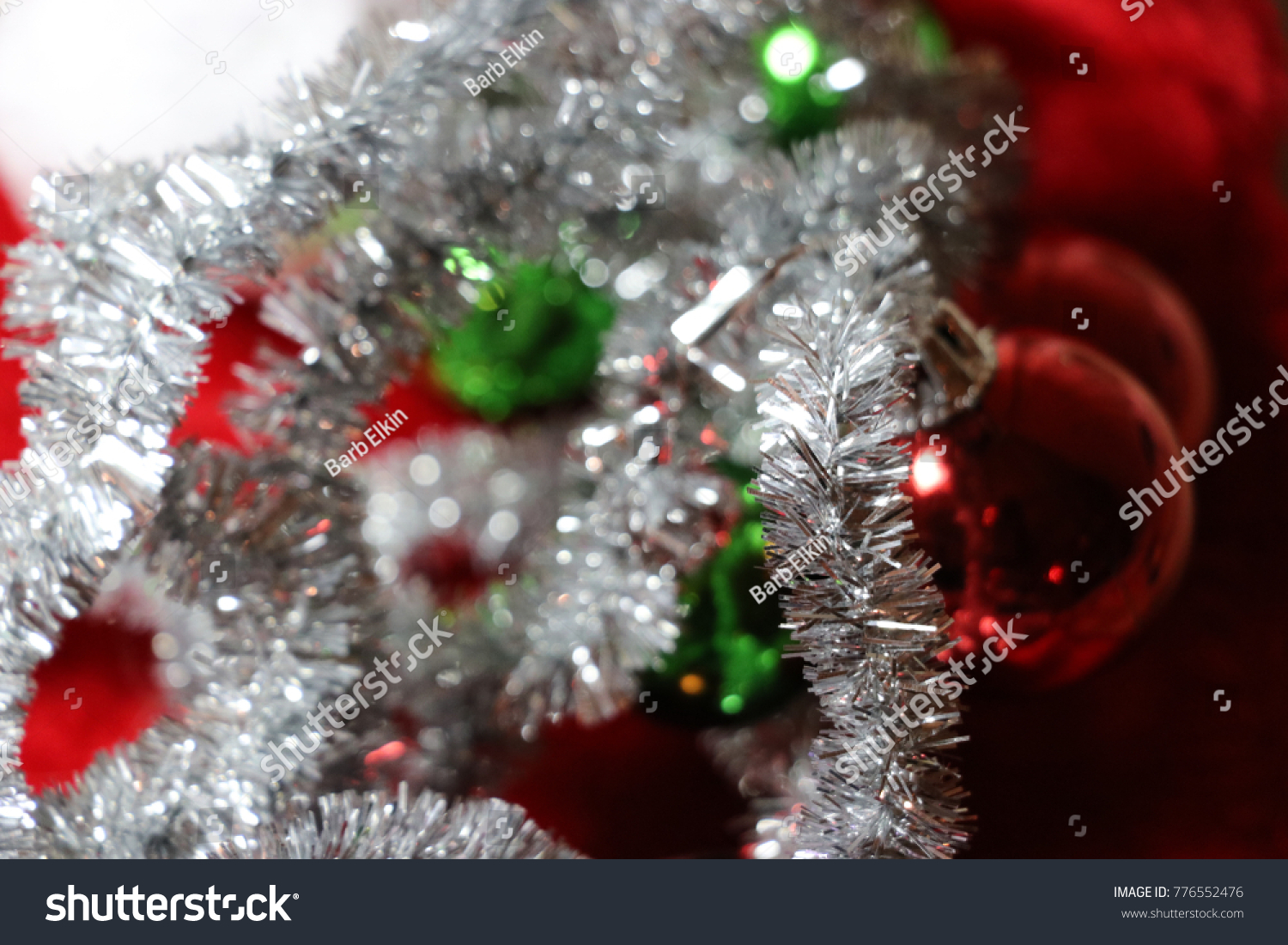 Red Green Silver White Christmas Decorations Stock Photo Edit Now 776552476