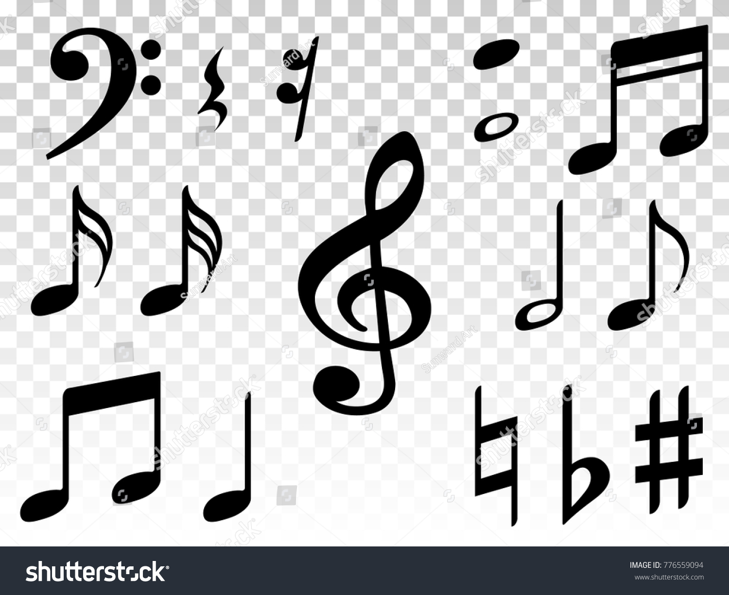 Music note icons vector set black stock vector 776559094 music note icons vector set black symphony or melody signs isolated on transparent background biocorpaavc Images