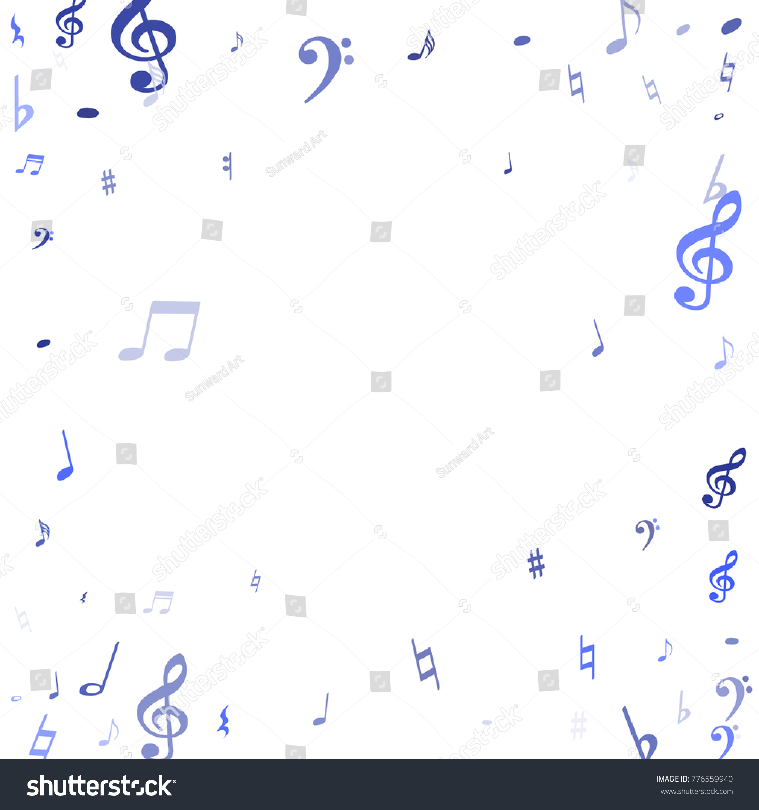 Blue flying musical notes isolated on stock vector 776559940 blue flying musical notes isolated on white backdrop cute musical notation symphony signs notes biocorpaavc Image collections