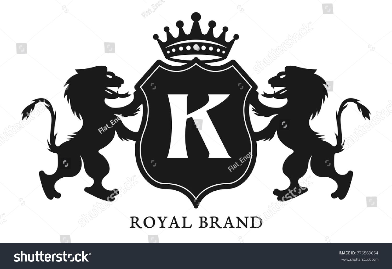 Crest With Shield And Two Lions Vector Black Emblem Label Or Badge Template In Vintage