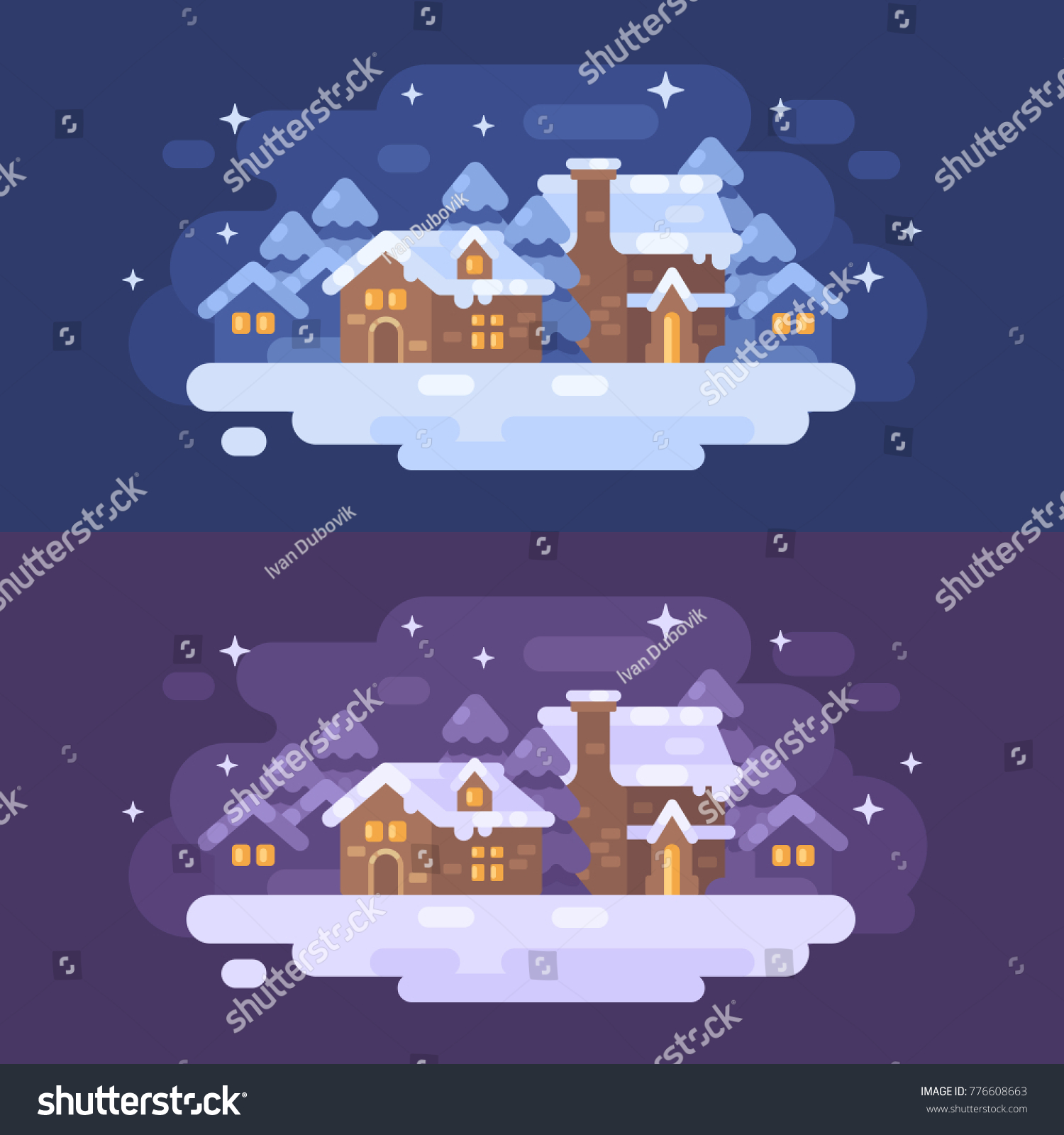 Snowy Winter Village Landscape Flat Illustration Christmas Greeting