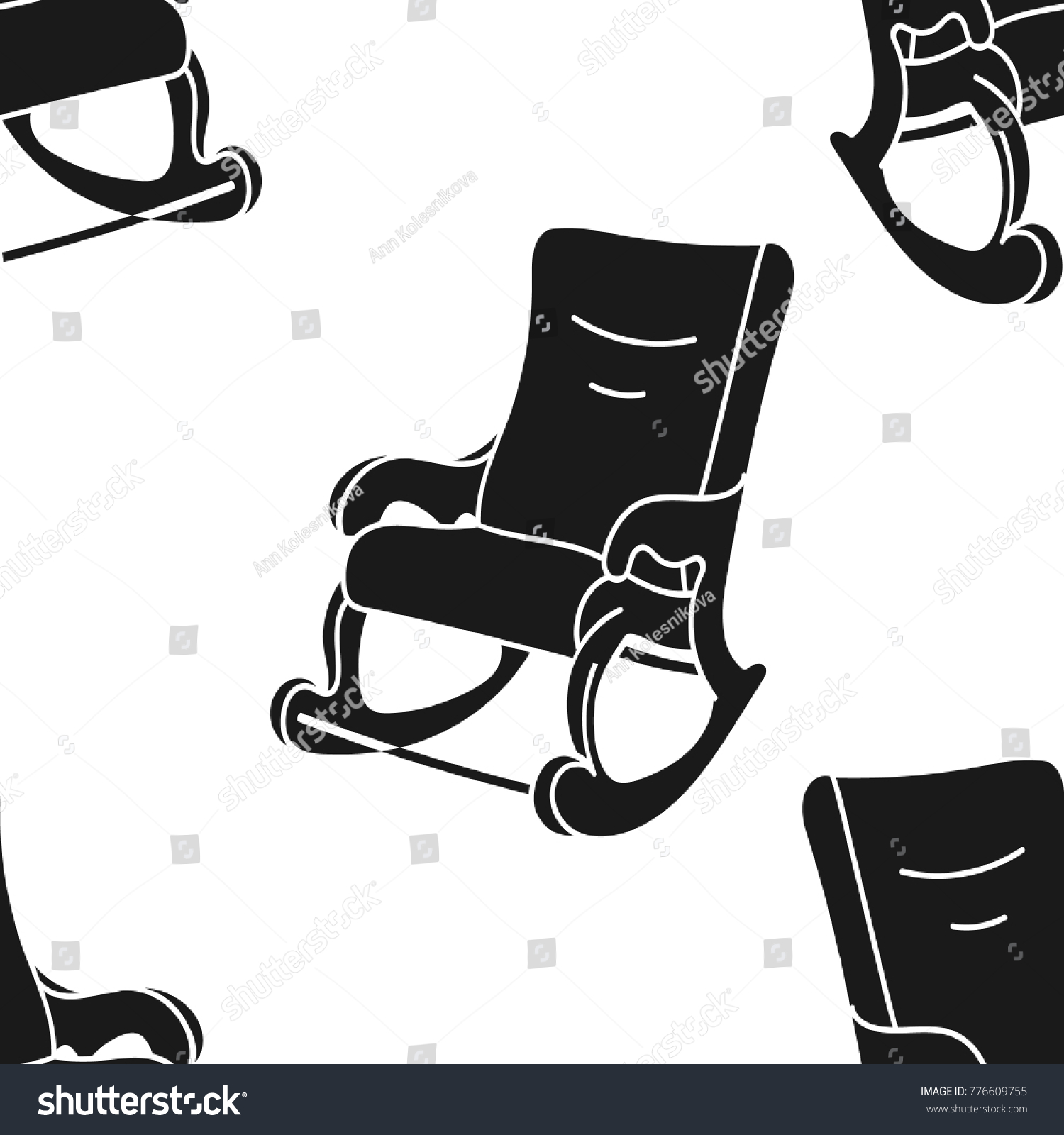 Rockingchair Vector Seamless Pattern Isolated On Stock Vector