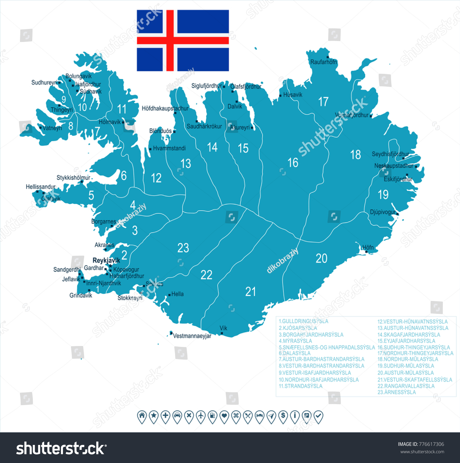 Iceland Map Flag High Detailed Vector Stock Vector (Royalty Free ...