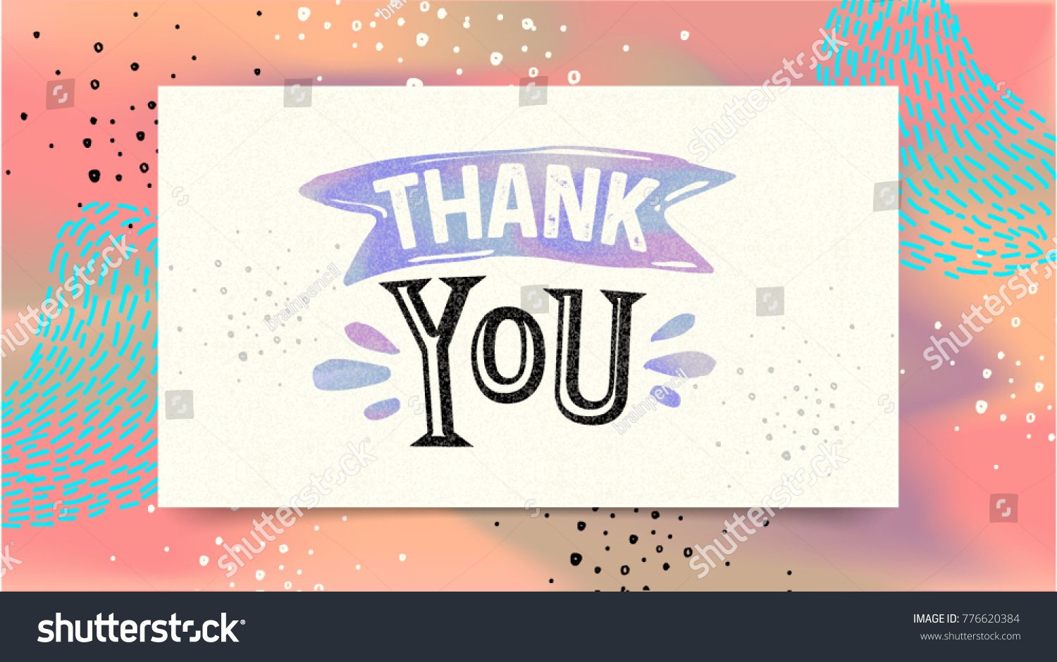 Thank you greeting card calligraphy text stock vector 776620384 thank you greeting card calligraphy text drawn invitation handwritten brush lettering memphis style kristyandbryce Images
