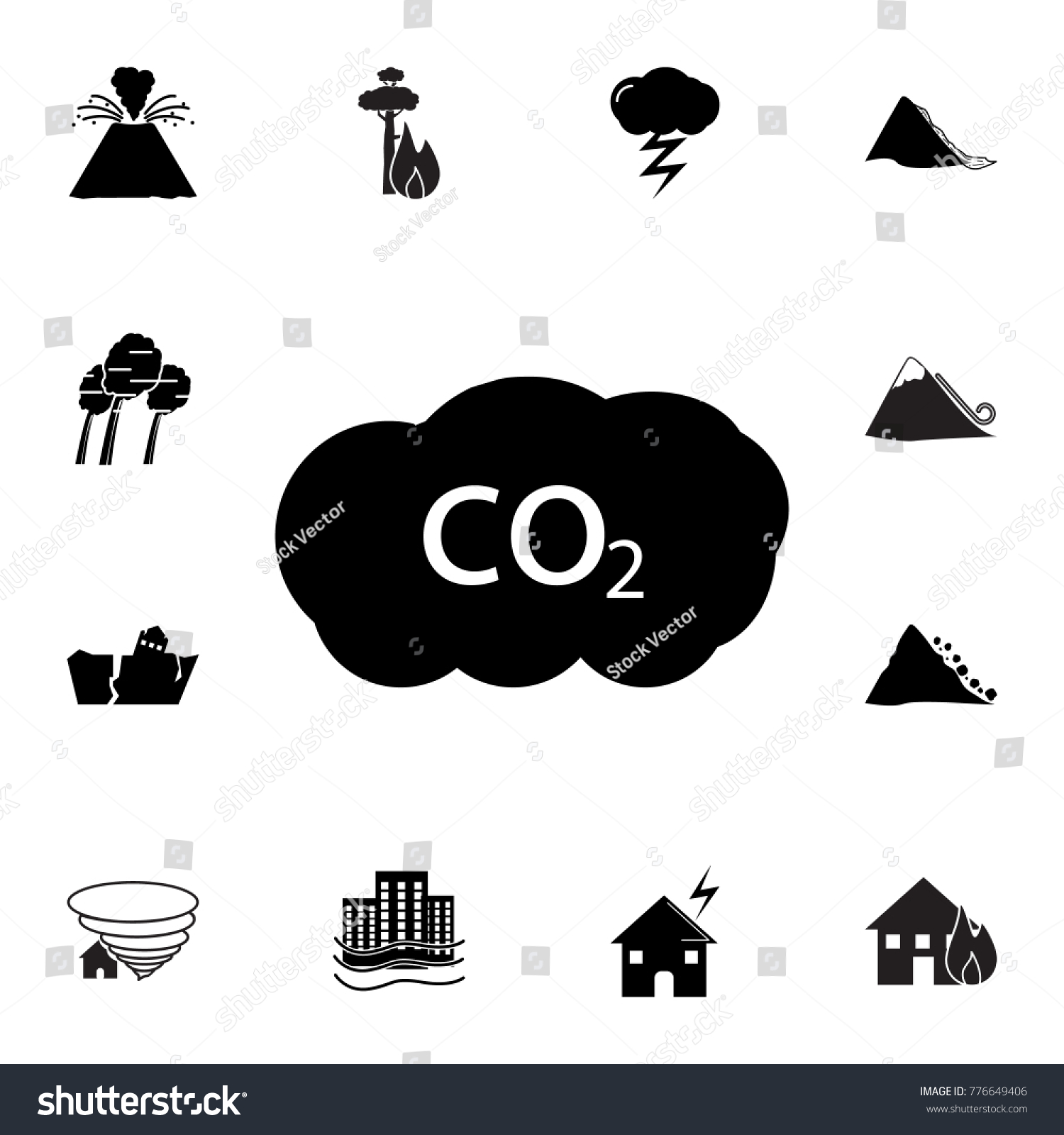 Co2 icon set natural disasters icons stock vector 776649406 set of natural disasters icons signs and symbols collection simple icons buycottarizona Choice Image