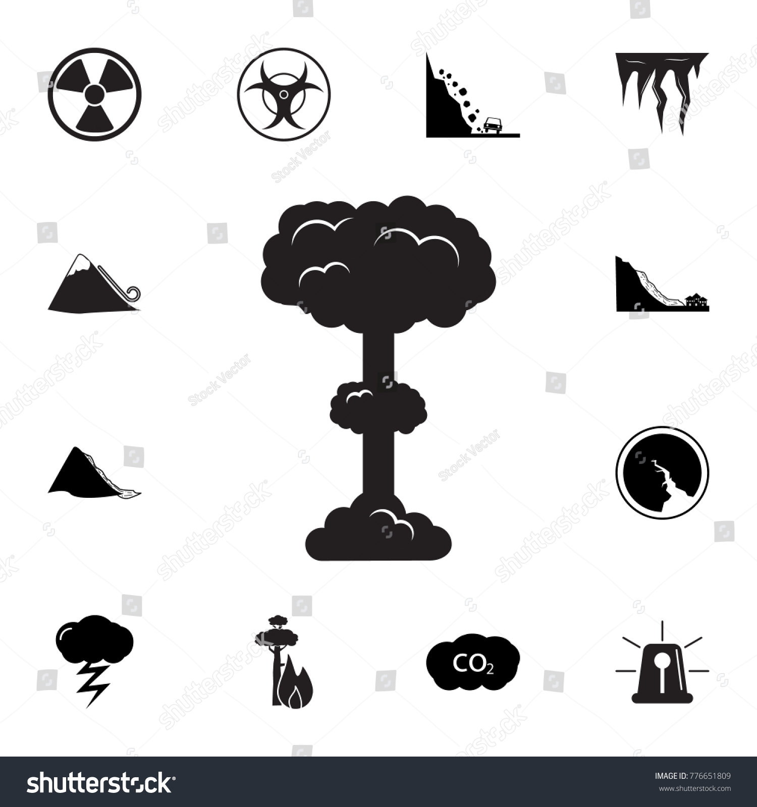 Nuclear explosion icon set natural disasters stock vector nuclear explosion icon set of natural disasters icon signs and symbols collection simple biocorpaavc Gallery
