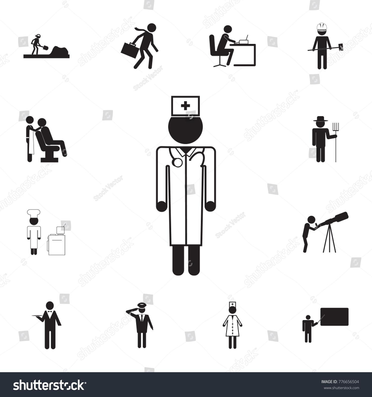 Doctor healing people icon set professions stock vector 776656504 set of professions disasters icons signs and symbols collection buycottarizona Choice Image