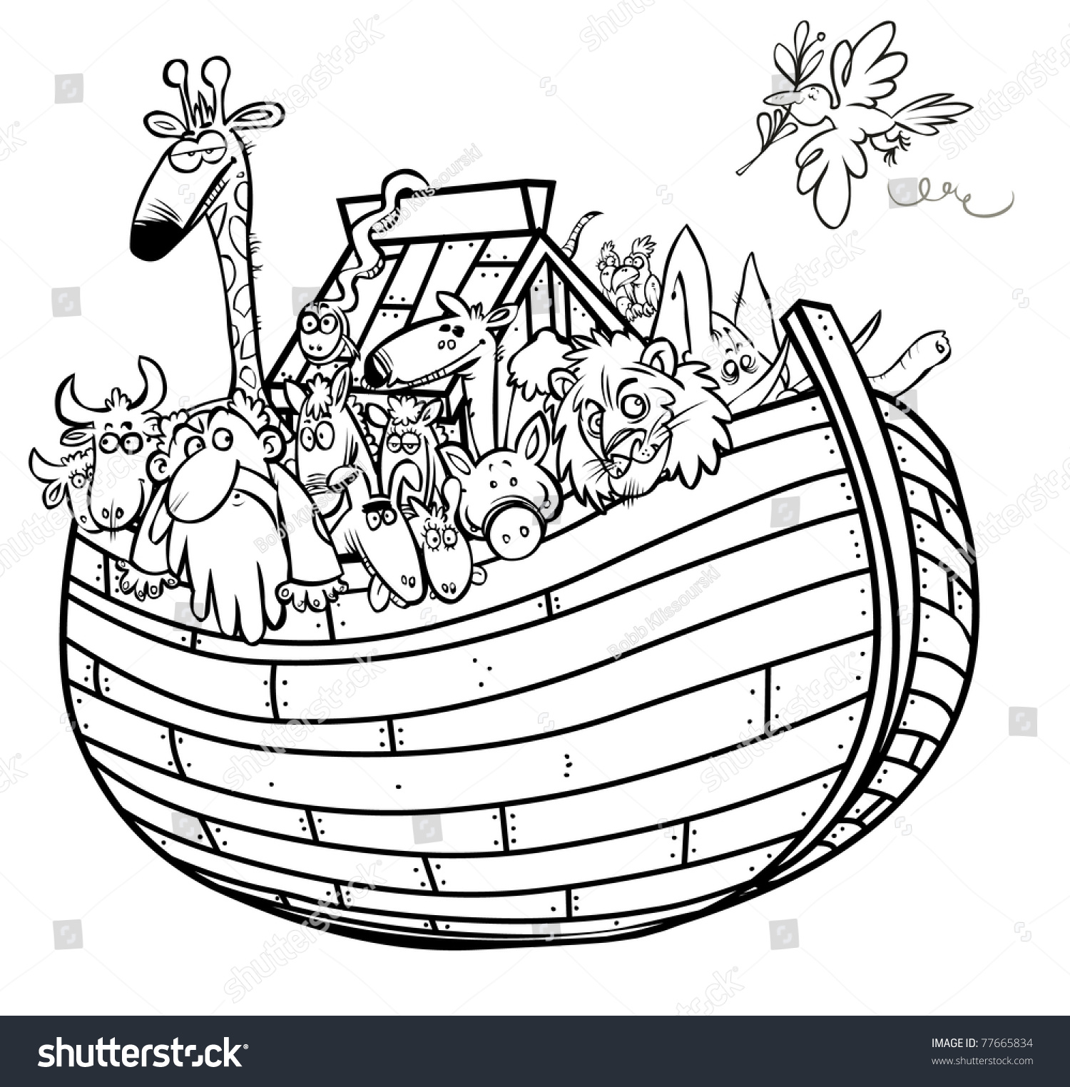 royalty free noah u0027s ark outline cartoon 77665834 stock photo