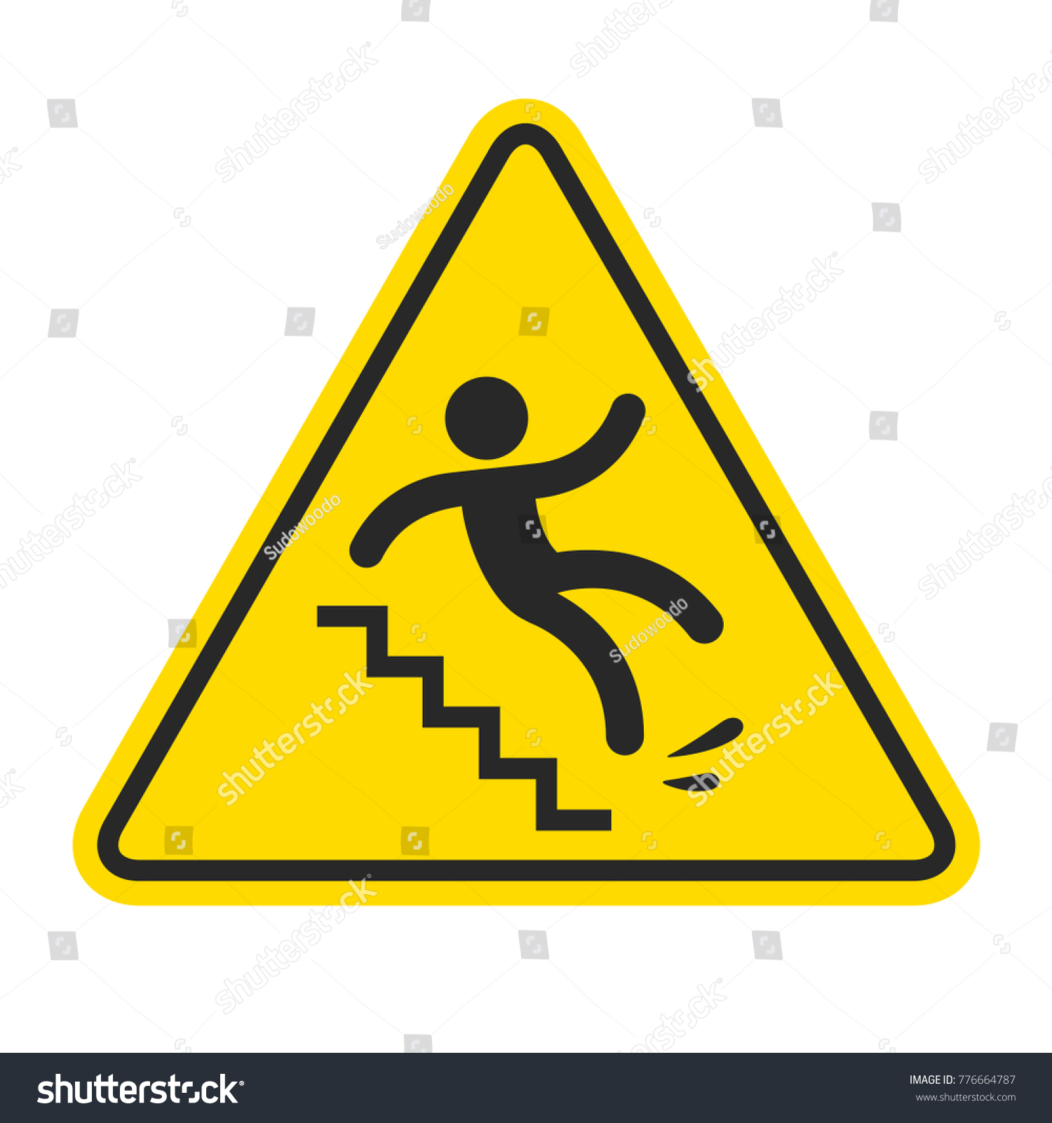 Slippery Stairs Warning Yellow Triangle Symbol Stock Illustration