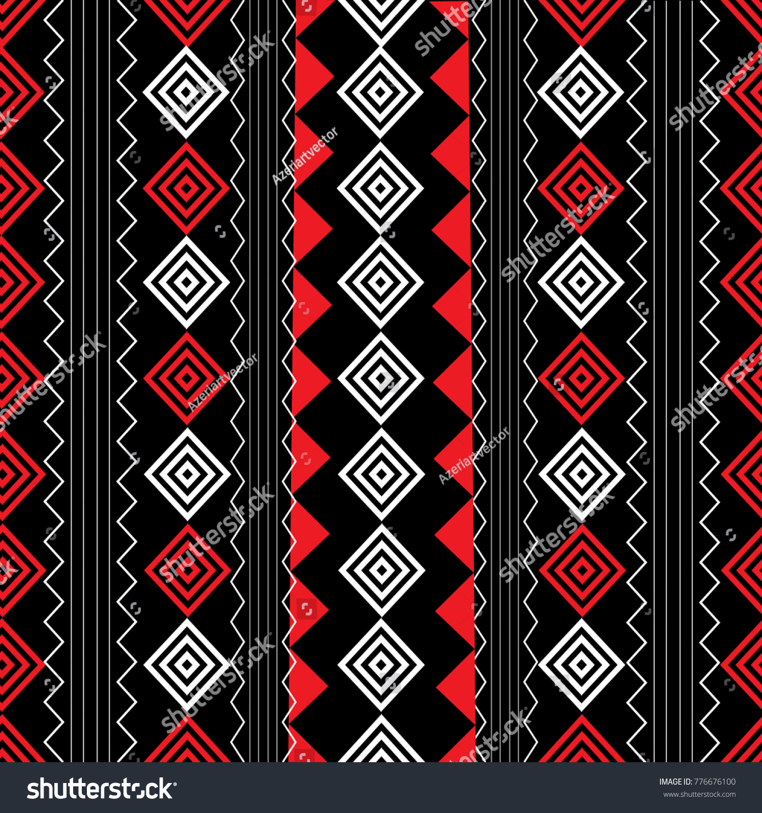 Geometric Striped Vector Seamless Pattern Black Stock Vector