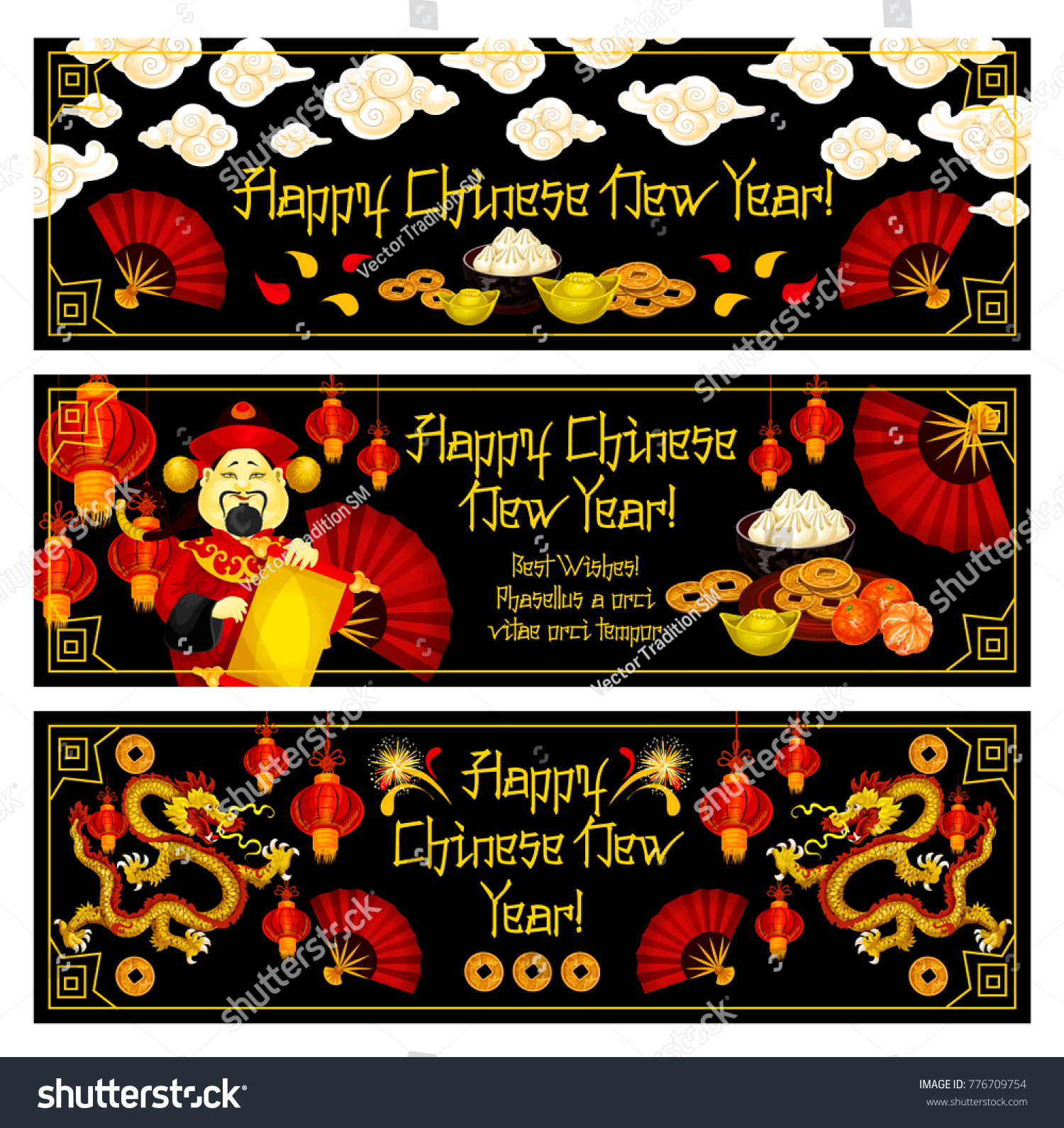 Happy chinese new year greeting banners stock vector 776709754 happy chinese new year greeting banners for traditional lunar holiday celebration vector chinese symbols and m4hsunfo Image collections