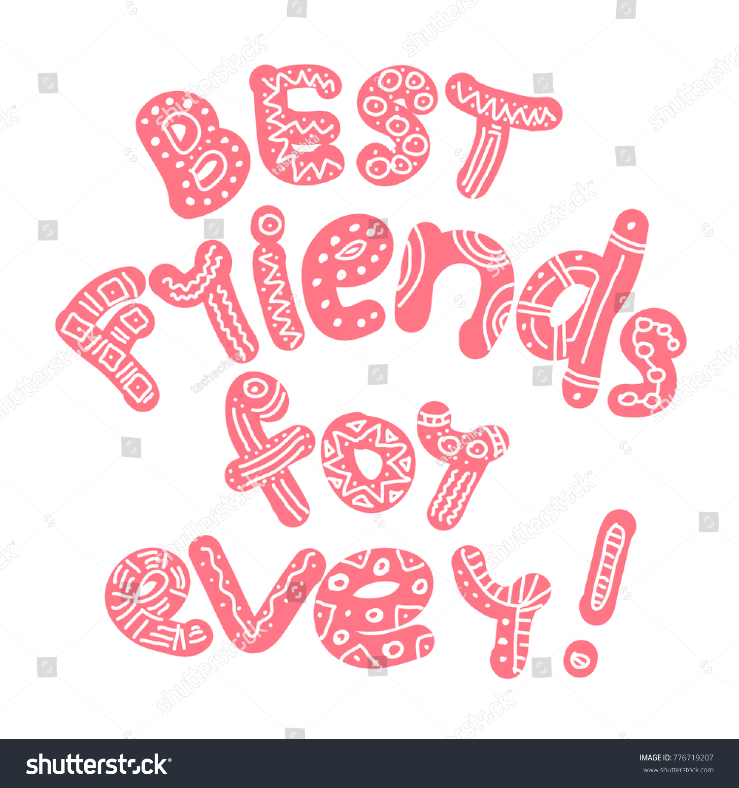 Best Friends Ever Hand Draw Lettering Stock Vector (Royalty Free ...