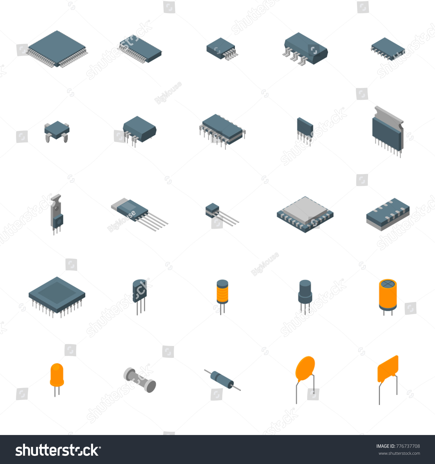 Microchip Computer Electronic Components Icons Set Stock