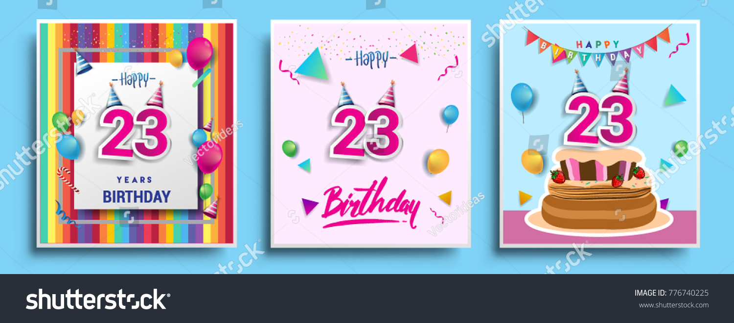 Vector sets 23 years birthday invitation stock vector 776740225 vector sets of 23 years birthday invitation greeting card design with confetti and balloons stopboris Gallery