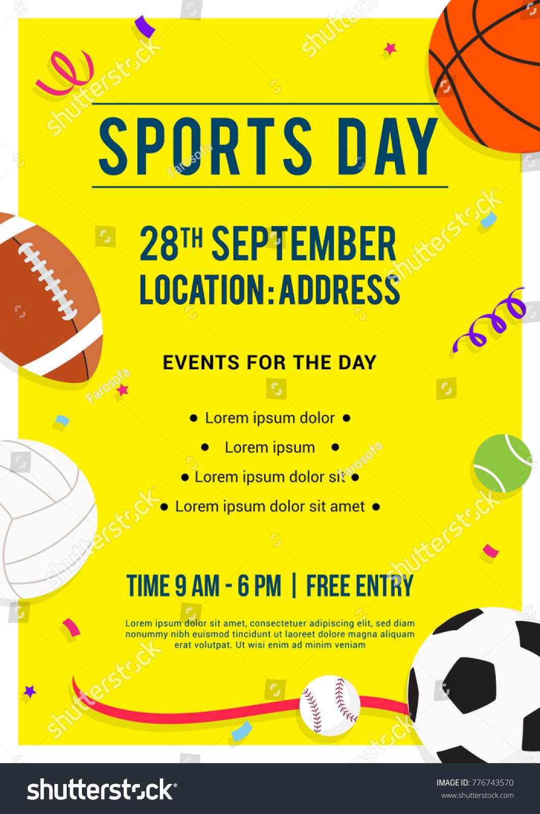 sports day poster invitation vector illustration stock