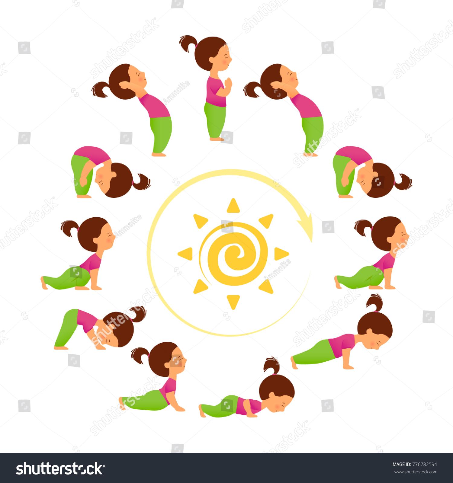 Morning Yoga Set Of Sun Salutation Exercises Surya Namascar Asana Sequence Cute Cartoon