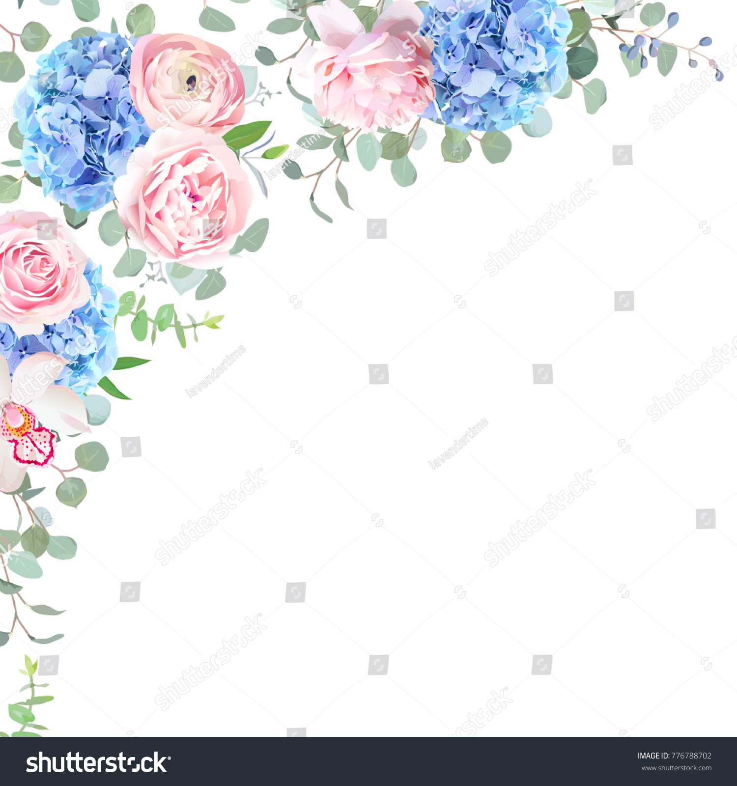 Blue Hydrangea Orchid Pink Rose Ranunculus Eucalyptus And