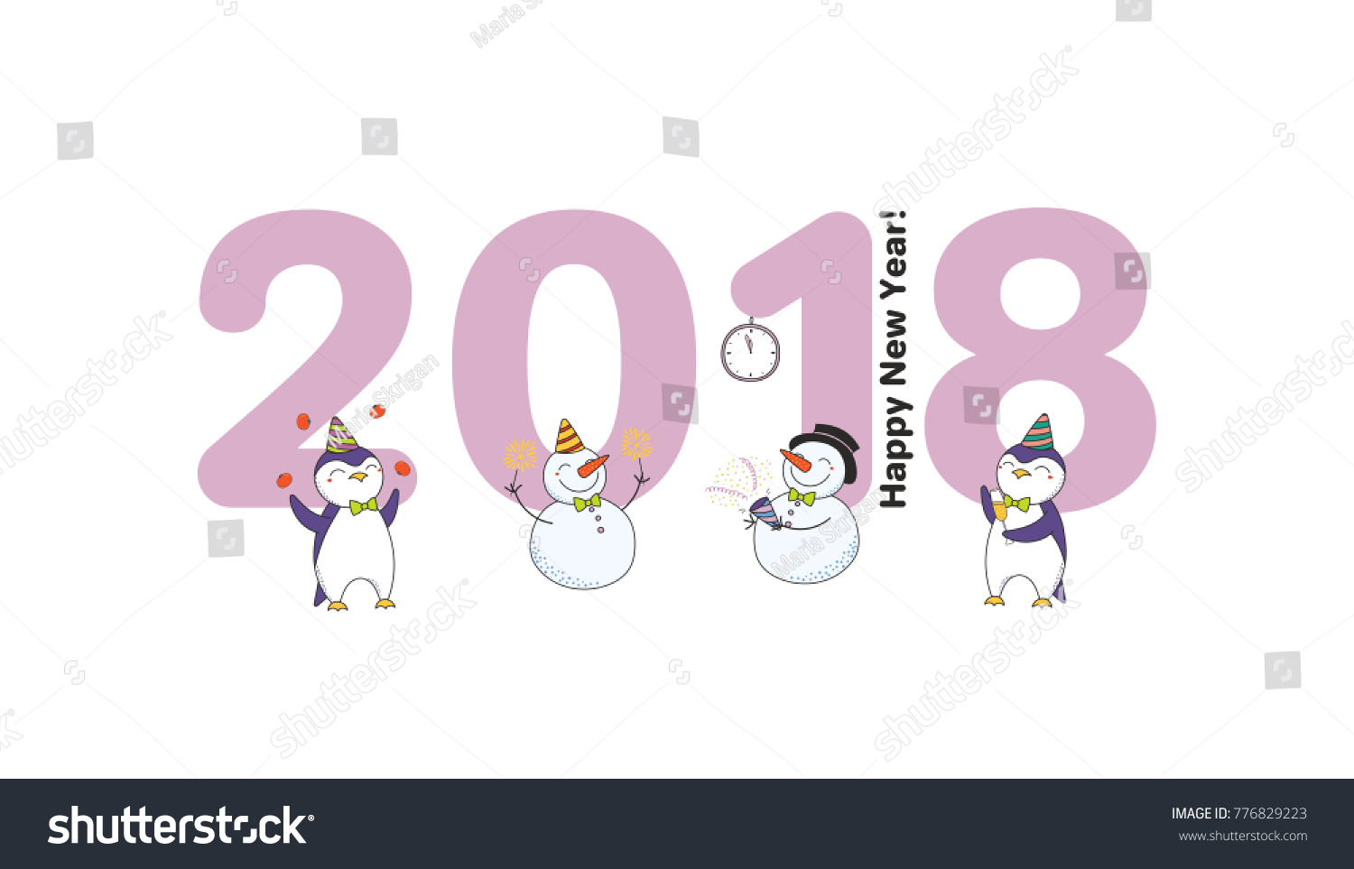 Hand Drawn Happy New Year 2018 Stock Vector (Royalty Free) 776829223 ...