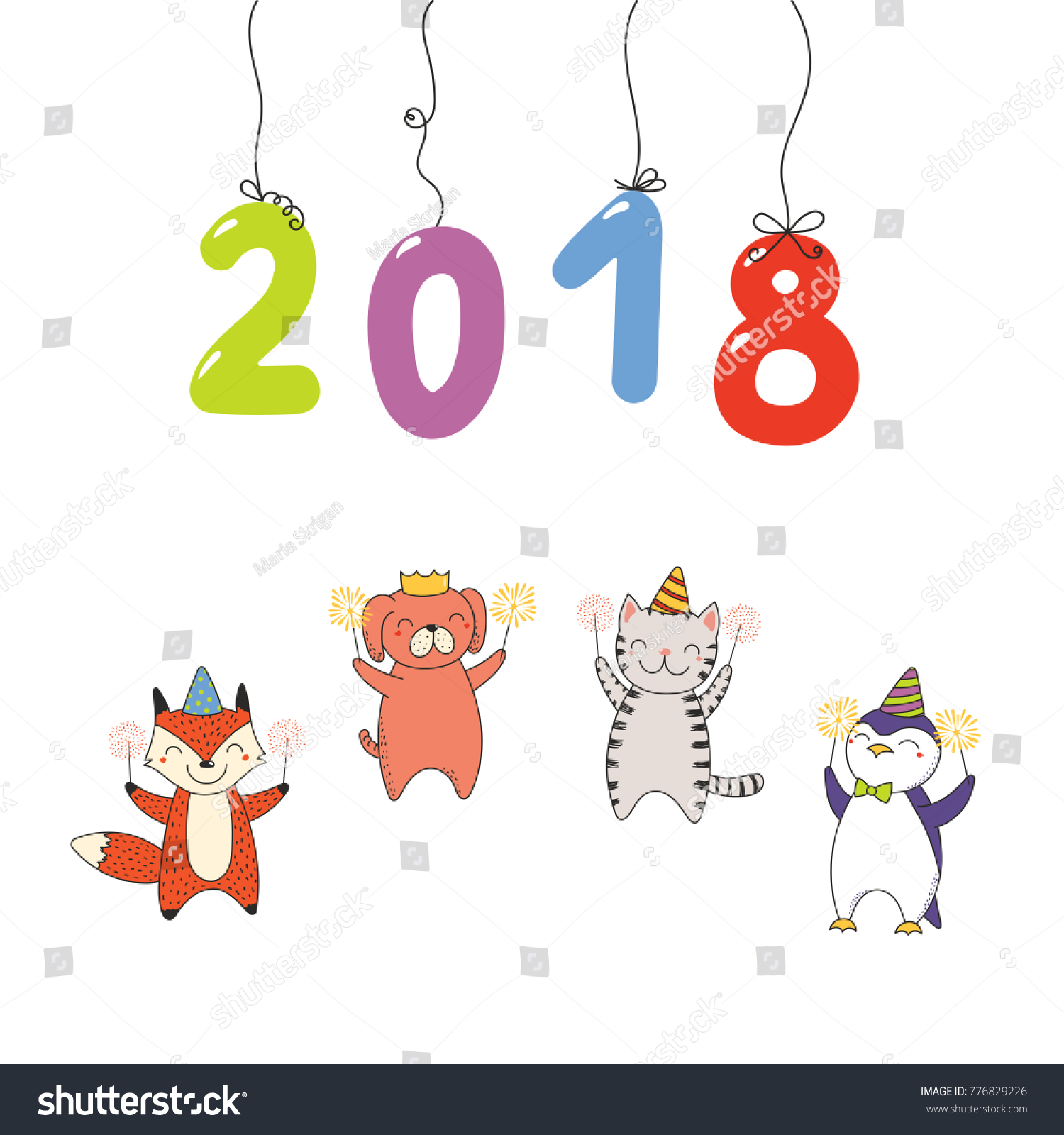 Hand Drawn New Year 2018 Greeting Stock Vector (Royalty Free ...