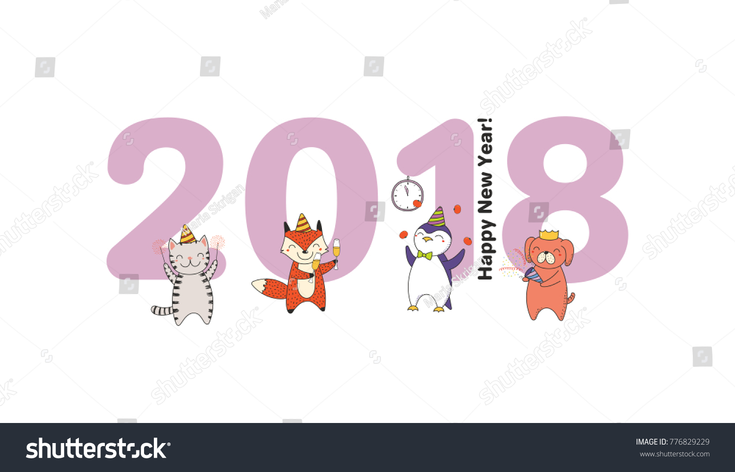 hand drawn happy new year 2018 greeting card banner template with big numbers cute