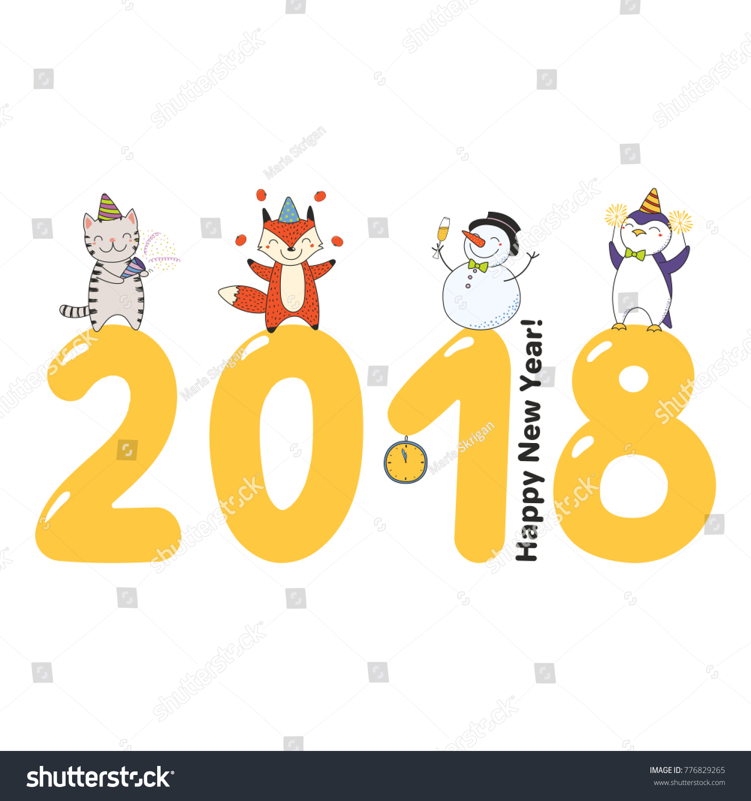 hand drawn happy new year 2018 greeting card banner template with cute funny cartoon animals