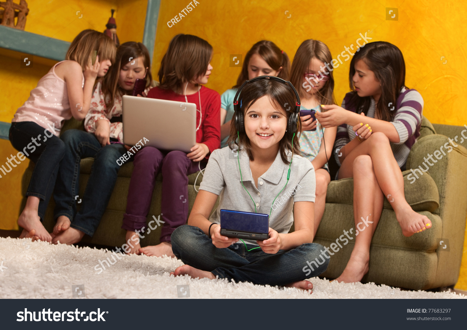 Smiling Little Girl Playing Video Game Stock Photo ...