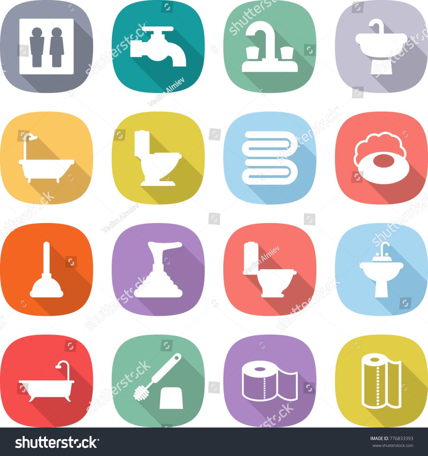 flat vector icon set wc vector stock vector 776833393 shutterstock. Black Bedroom Furniture Sets. Home Design Ideas