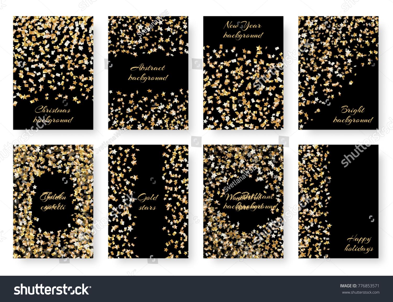 Set new years brilliant birthday invitation stock vector 776853571 a set new years brilliant birthday invitation mockup with flying golden stars of confetti for festive stopboris Choice Image