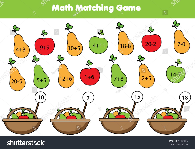 Math Educational Game Children Matching Mathematics Stock Vector HD ...