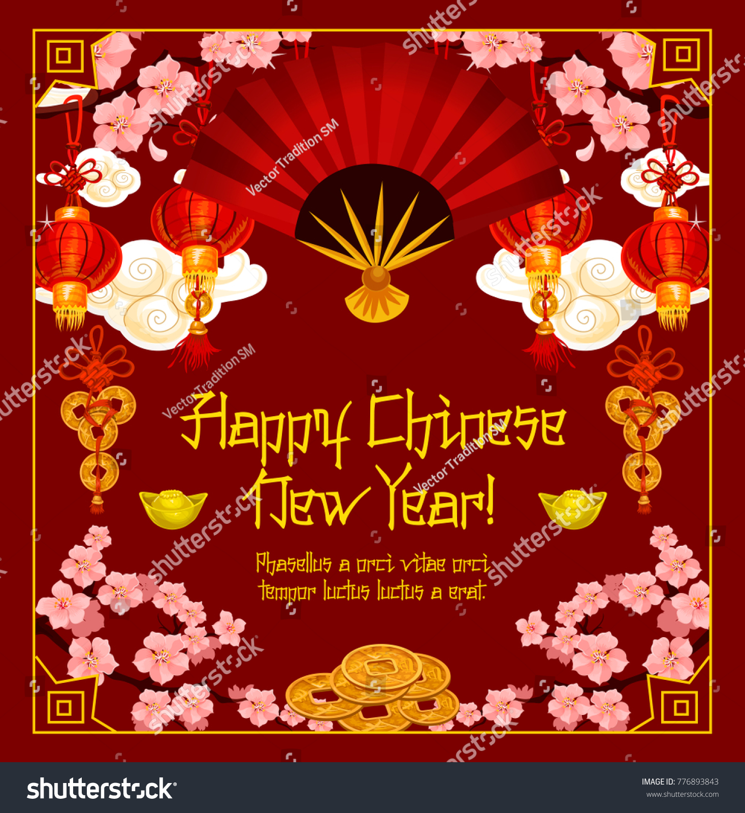 Happy Chinese New Year Traditional Greeting Stock Vector Royalty