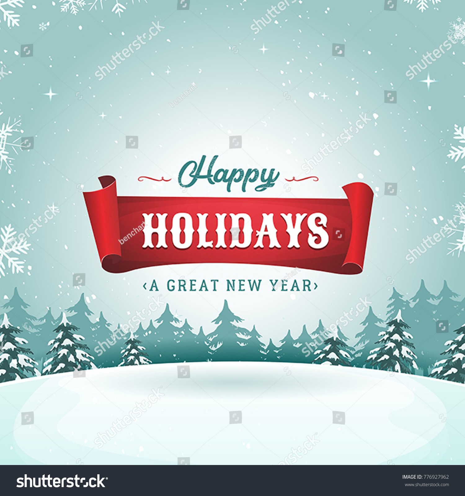 Happy Holidays Greeting Card Christmas Landscape Stock Vector