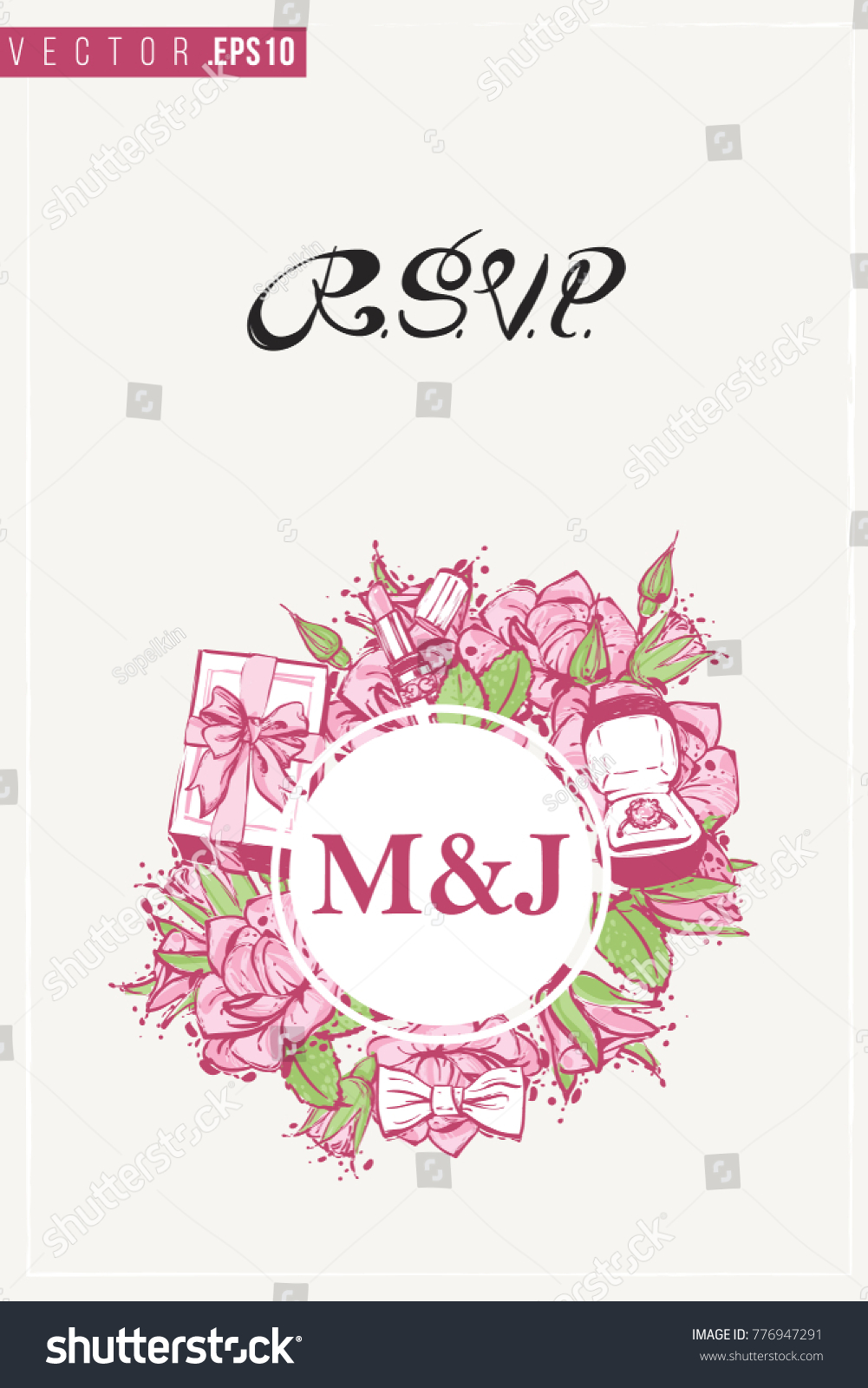 Bridal Greeting Card Round Composition Wedding Stock Vector Hd