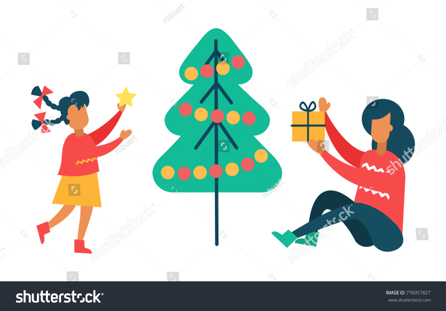 422ec934 Girl decorates New Year tree putting star on top, pine with color balls,  mother going to hide gift under Christmas spruce with garlands vector -  Vector