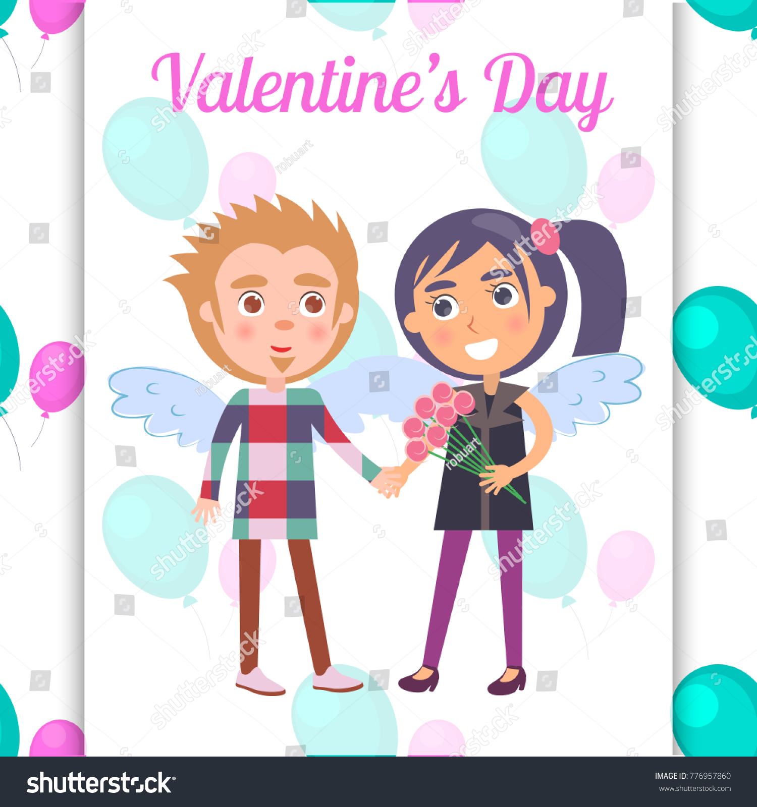 Valentines Day Poster First Date Teenage Stock Vector 776957860 .