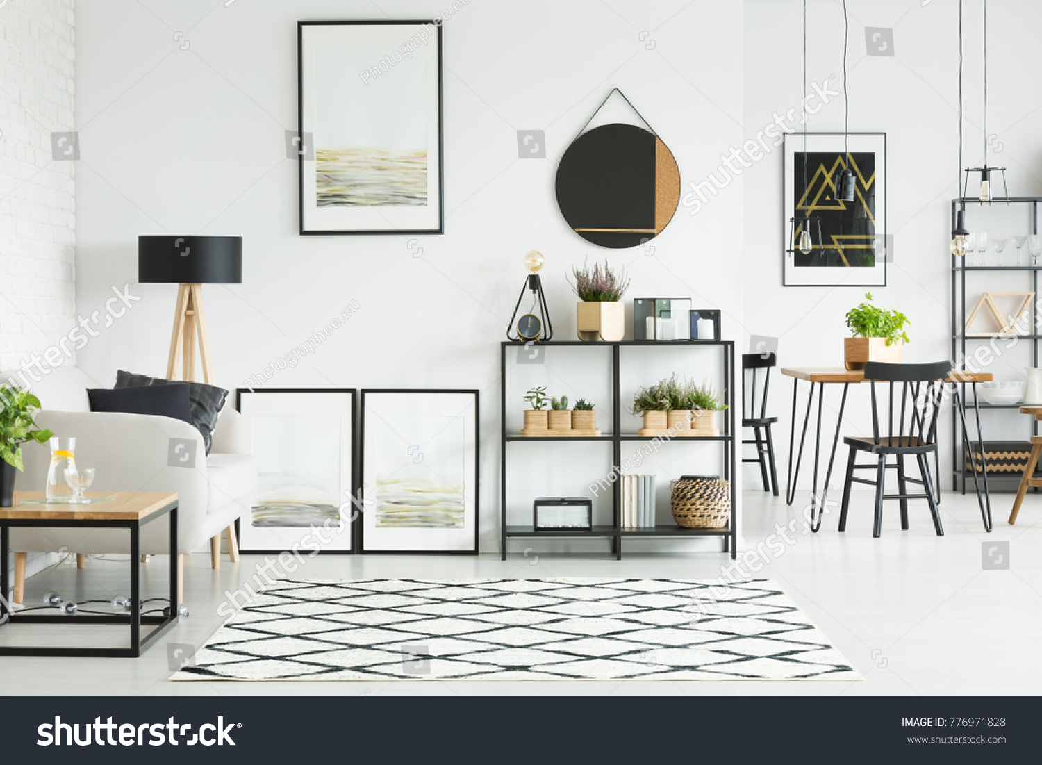 Patterned Carpet On Floor Mirror Paintings Stock Photo (Royalty Free ...