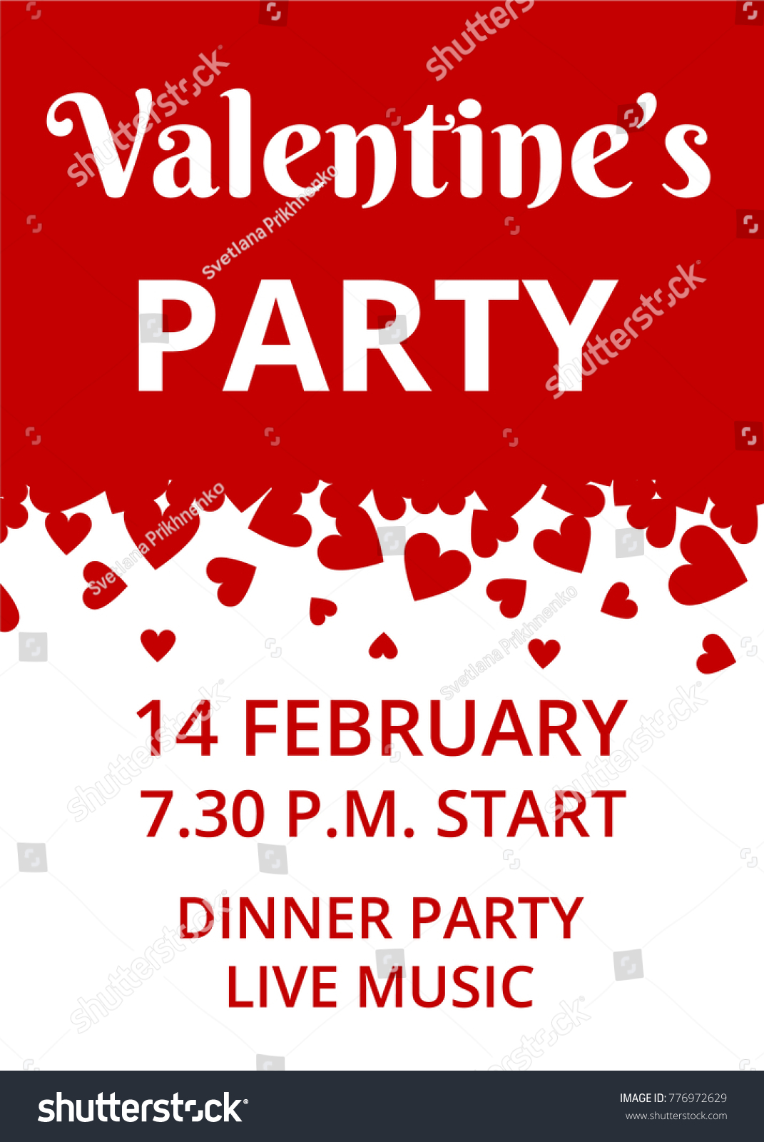 Valentines Day Party Invitation Card Hearts Stock Vector (Royalty ...