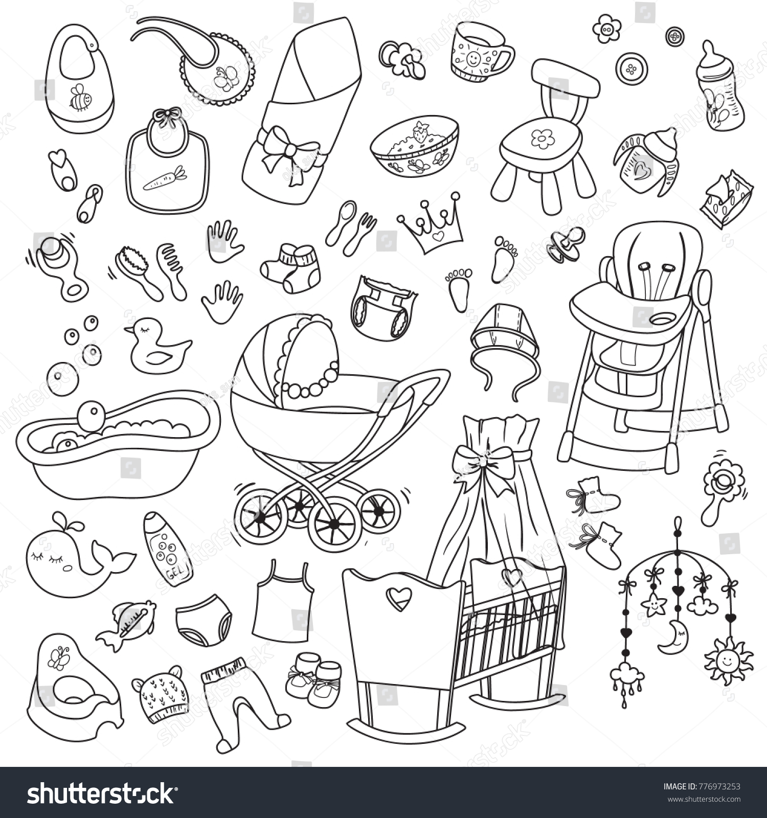 Big Cute Baby Set Collection Doodle Stock Vector Royalty Free