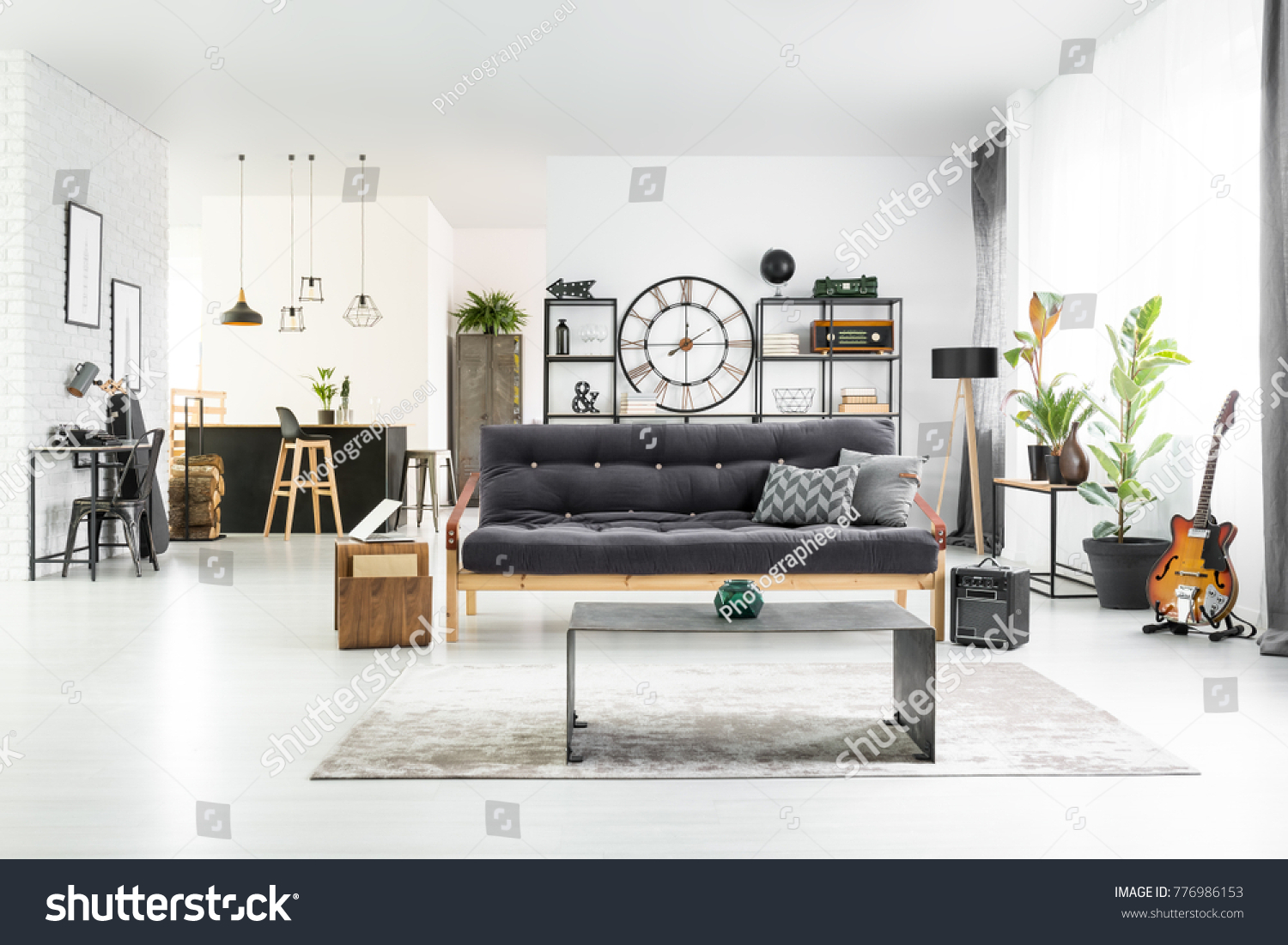 Black White Stylish Man Cave Interior Stock Photo & Image (Royalty ...