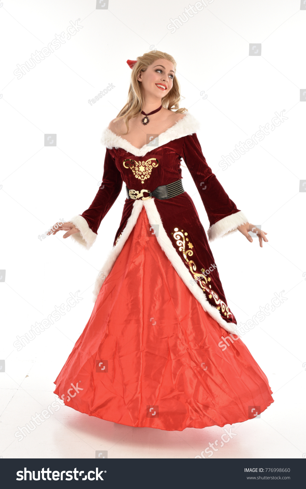 full length portrait of pretty blonde lady wearing red and white ...