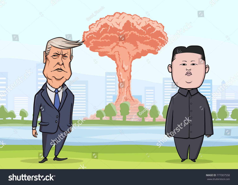 OCTOBER 30 2017 Donald Trump Kim Stockillustration