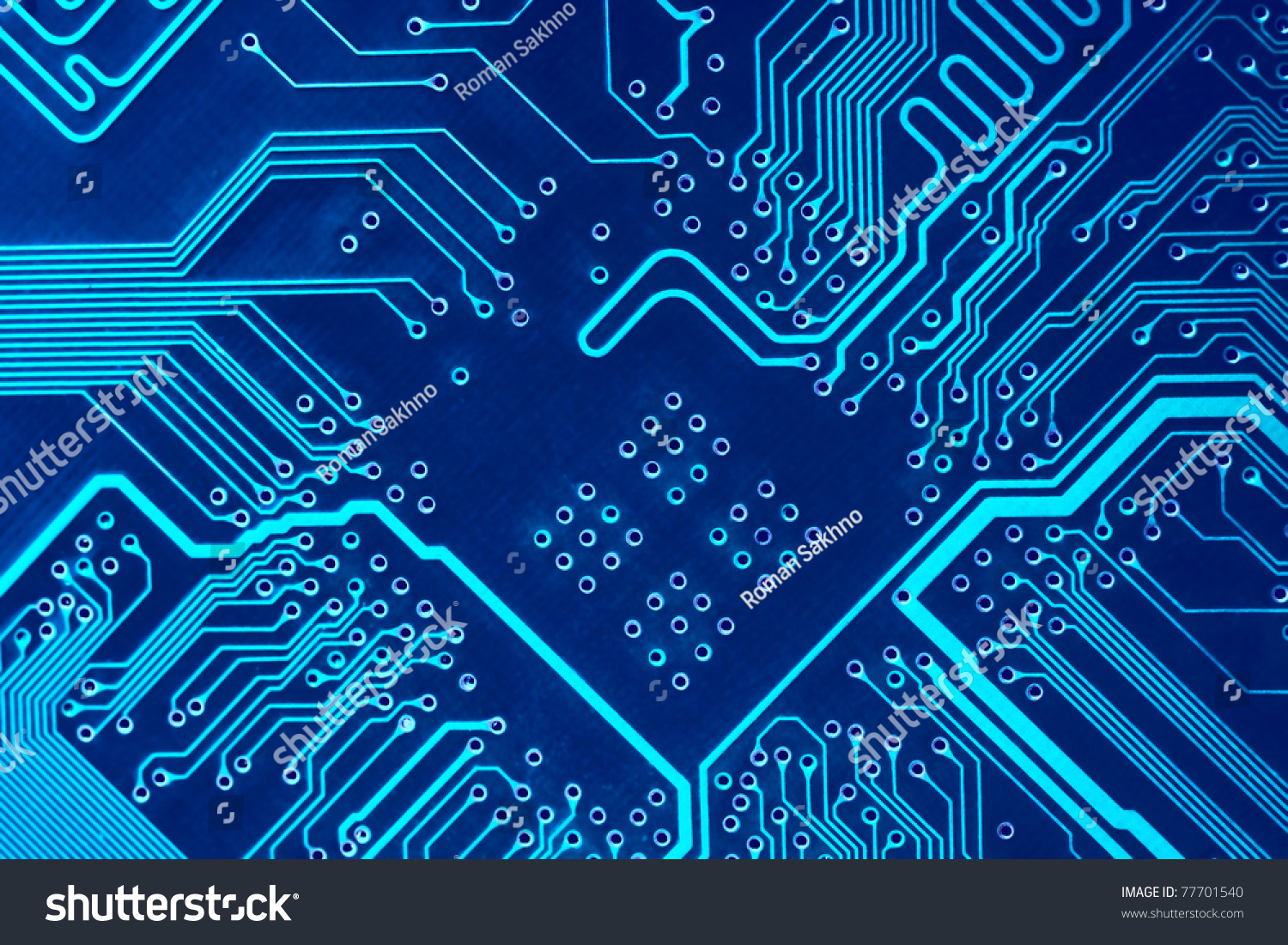 Abstract Circuit Board Background By Silvertiger: Abstract Blue Computer Circuit Board Close Up For