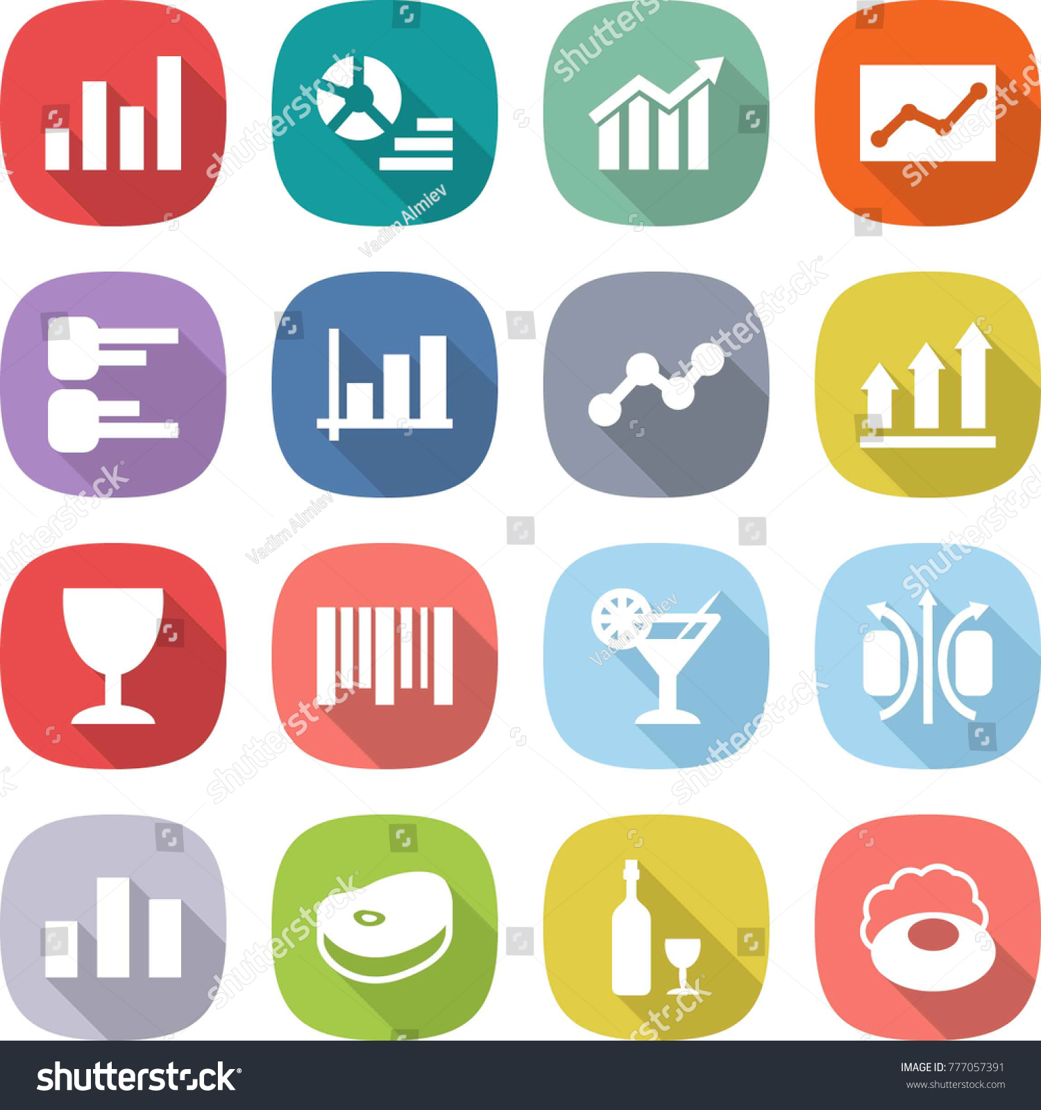 Flat vector icon set graph vector stock vector 777057391 flat vector icon set graph vector diagram statistics up wineglass ccuart Image collections