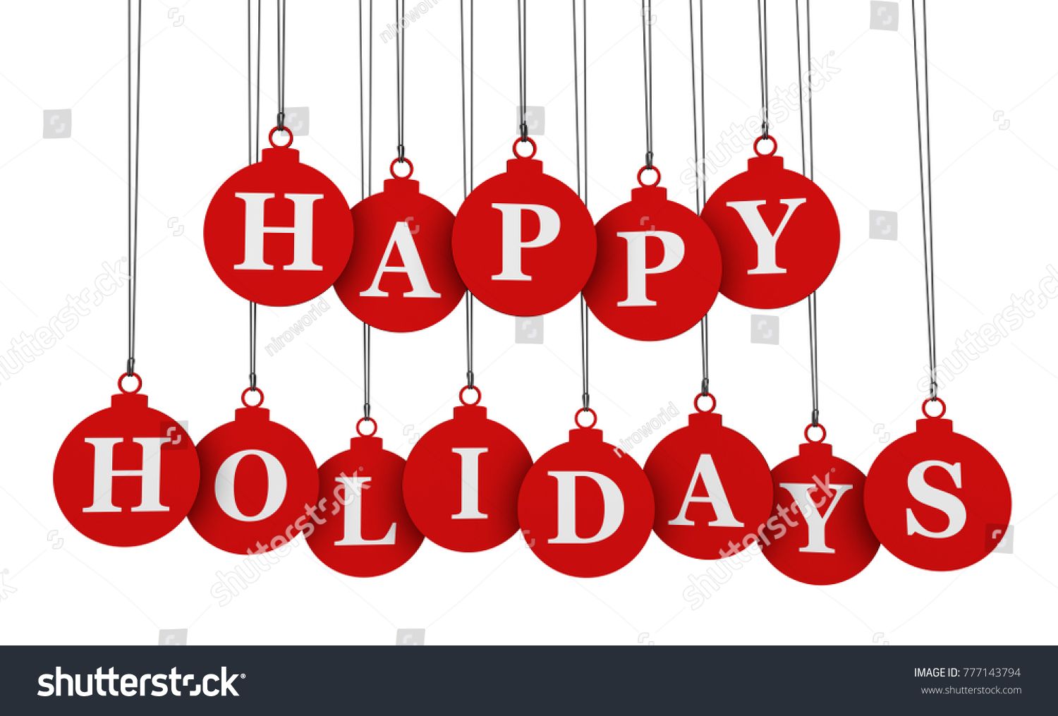 Happy holidays greeting message sign on stock illustration 777143794 happy holidays greeting message and sign on red hanging bauble shaped tags 3d illustration isolated on kristyandbryce Gallery