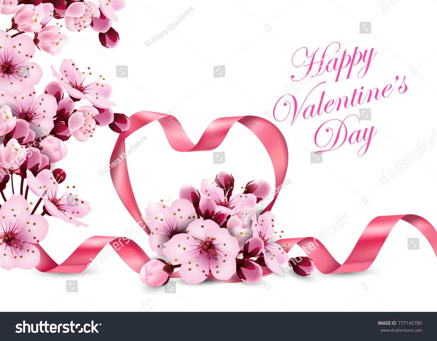 Happy Valentines Day Pink Ribbon Heart Stock Vector Royalty Free